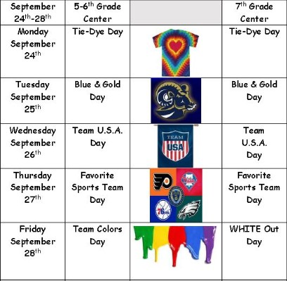 mon- tie-dye, tue - blue & gold, Wed - team USA, Thur - favorite sports team, Fri -team colors for 5/6 white out for 7th