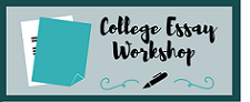 """College Essay Workshop"" with a pen on a teal background"