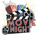 Movie Night sign with clapper board, drink cup, popcorn and film reels
