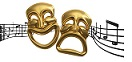 Gold Theater Masks on Music Notes
