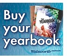Walsworth 'Buy Your Yearbook' with yearbook picture on blue background