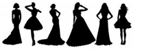 Silhouettes of Ladies in Dresses